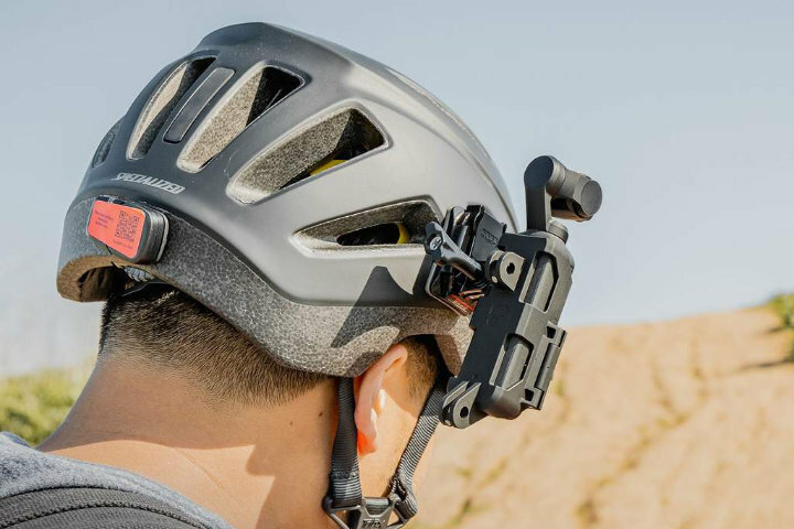 Osmo pocket action mount attached on a helmet